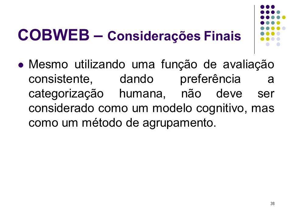 COBWEB – Considerações Finais Mesmo utilizando uma função de avaliação consistente, dando preferência a categorização humana, não deve ser considerado como um modelo cognitivo, mas como um método de agrupamento.