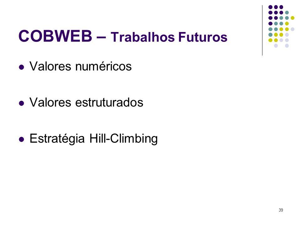Valores numéricos Valores estruturados Estratégia Hill-Climbing 39 COBWEB – Trabalhos Futuros