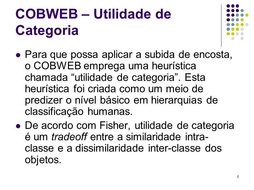 6 COBWEB – Utilidade de Categoria Para que possa aplicar a subida de encosta, o COBWEB emprega uma heurística chamada utilidade de categoria. Esta heu