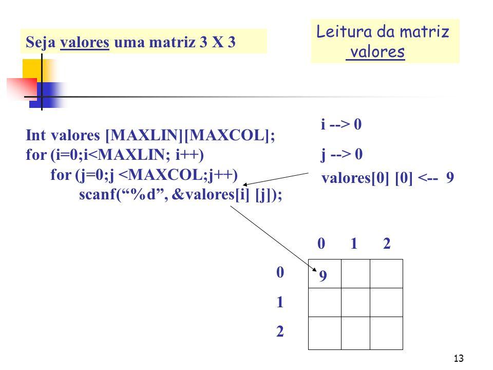 12 Leitura na matriz valores