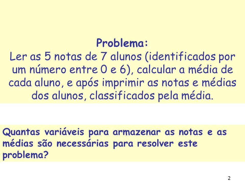 2 Problema: Ler as 5 notas de 7 alunos (identificados por um número entre 0 e 6), calcular a média de cada aluno, e após imprimir as notas e médias dos alunos, classificados pela média.