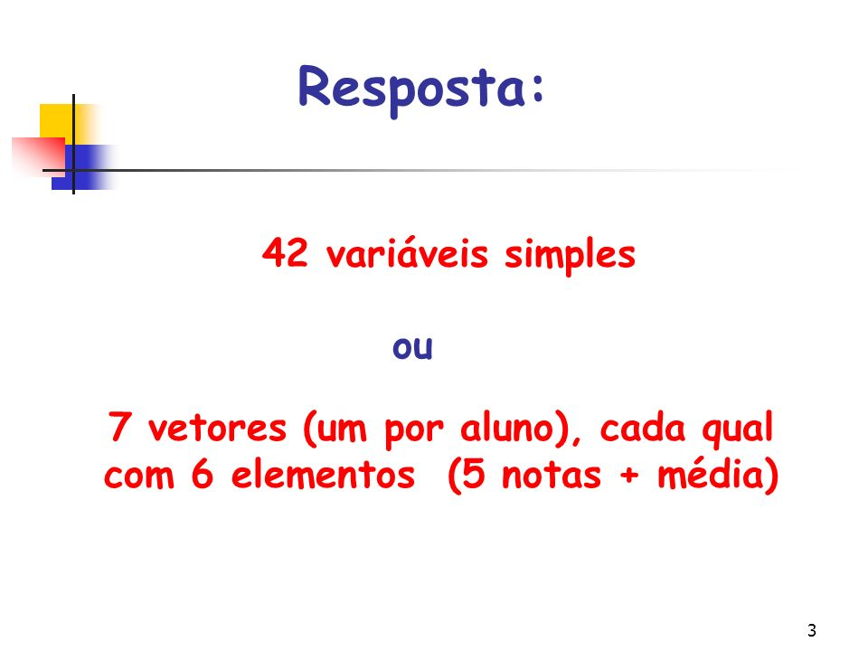 3 7 vetores (um por aluno), cada qual com 6 elementos (5 notas + média) Resposta: 42 variáveis simples ou