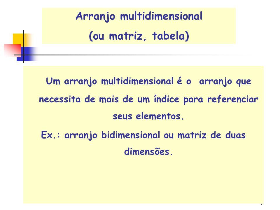 7 Um arranjo multidimensional é o arranjo que necessita de mais de um índice para referenciar seus elementos.
