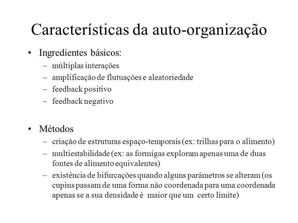 Auto-organização Auto-organização consiste de um conjunto de mecanismos dinâmicos onde aparecem estruturas no nível global como resultado de interaçõe