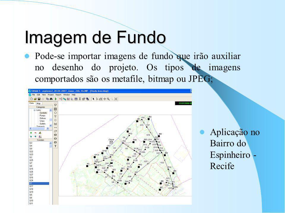 Imagem de Fundo Pode-se importar imagens de fundo que irão auxiliar no desenho do projeto. Os tipos de imagens comportados são os metafile, bitmap ou