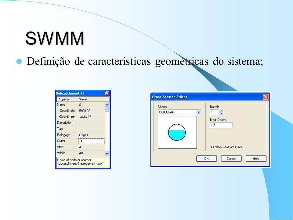 SWMM Definição de características geométricas do sistema;