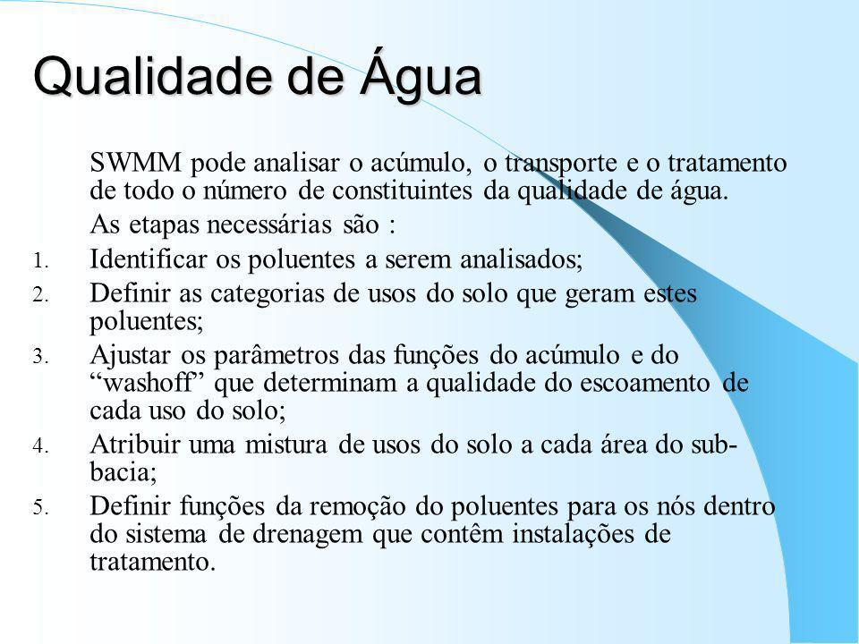 Qualidade de Água SWMM pode analisar o acúmulo, o transporte e o tratamento de todo o número de constituintes da qualidade de água. As etapas necessár
