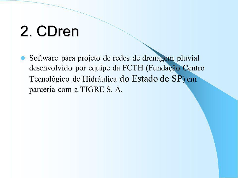 2. CDren Software para projeto de redes de drenagem pluvial desenvolvido por equipe da FCTH (Fundação Centro Tecnológico de Hidráulica do Estado de SP