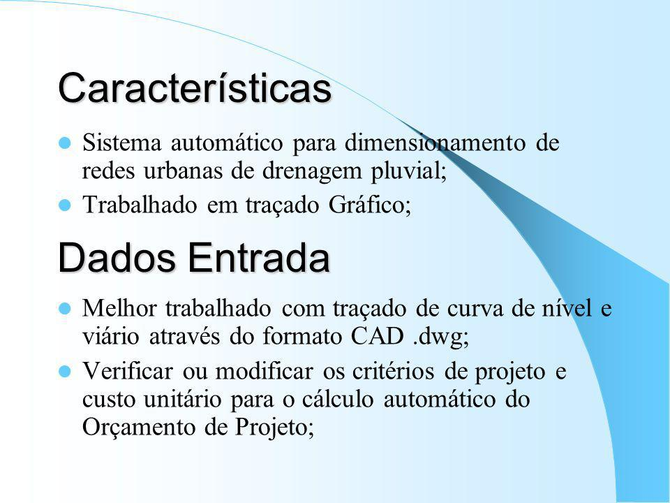 Características Sistema automático para dimensionamento de redes urbanas de drenagem pluvial; Trabalhado em traçado Gráfico; Melhor trabalhado com tra