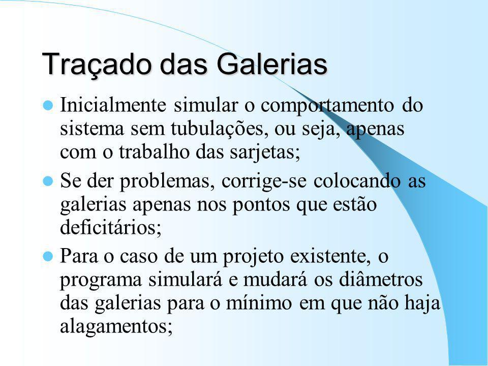 Traçado das Galerias Inicialmente simular o comportamento do sistema sem tubulações, ou seja, apenas com o trabalho das sarjetas; Se der problemas, co