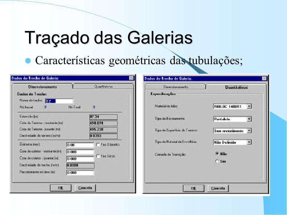 Traçado das Galerias Características geométricas das tubulações;