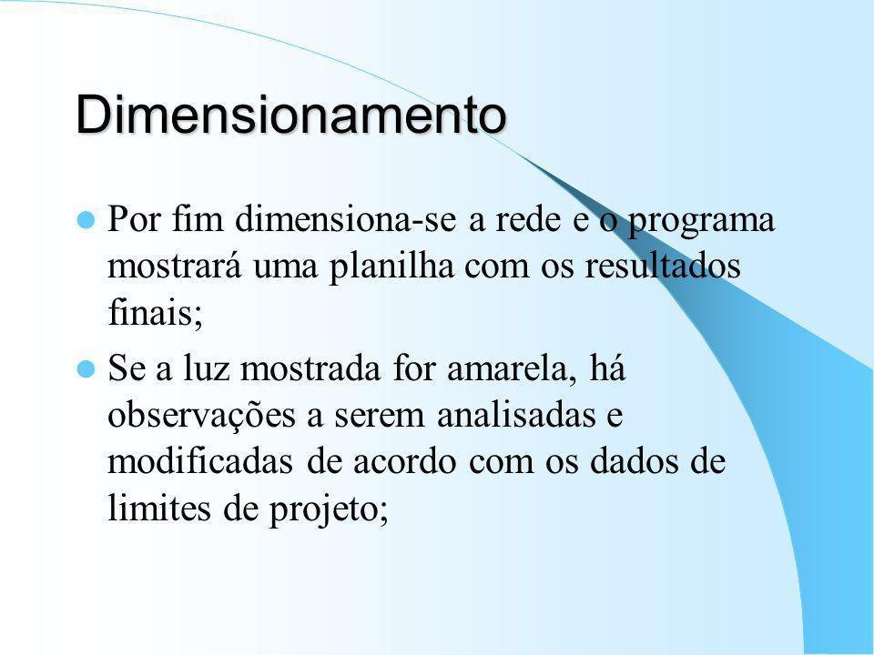 Dimensionamento Por fim dimensiona-se a rede e o programa mostrará uma planilha com os resultados finais; Se a luz mostrada for amarela, há observaçõe