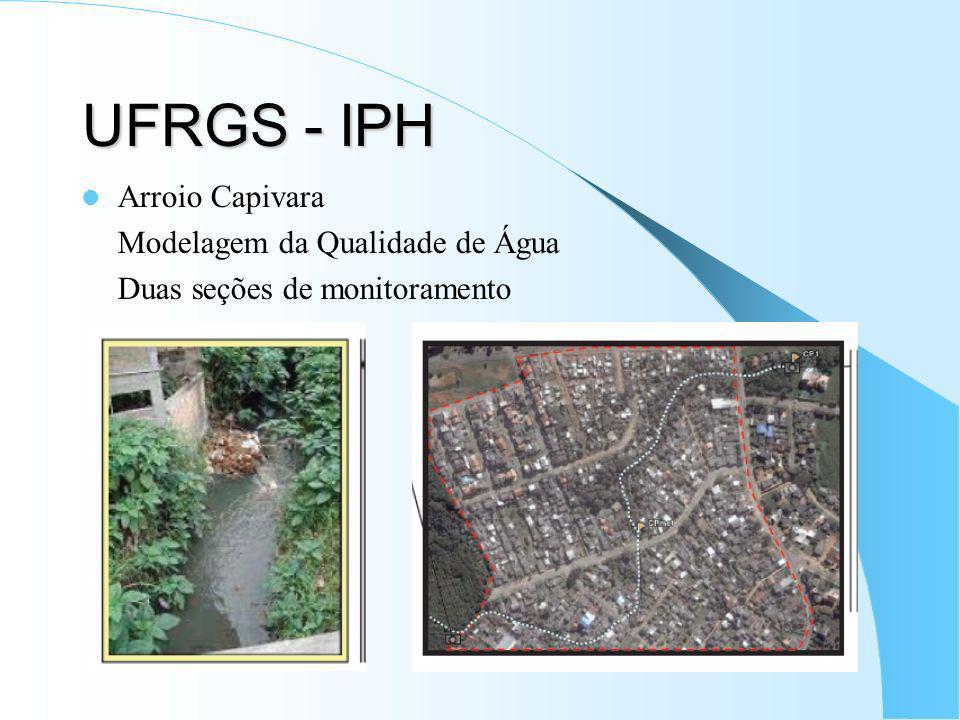 UFRGS - IPH Arroio Capivara Modelagem da Qualidade de Água Duas seções de monitoramento