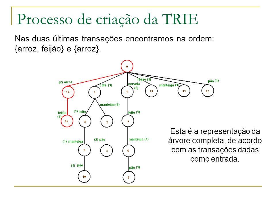 Processo de criação da TRIE Nas duas últimas transações encontramos na ordem: {arroz, feijão} e {arroz}. Esta é a representação da árvore completa, de