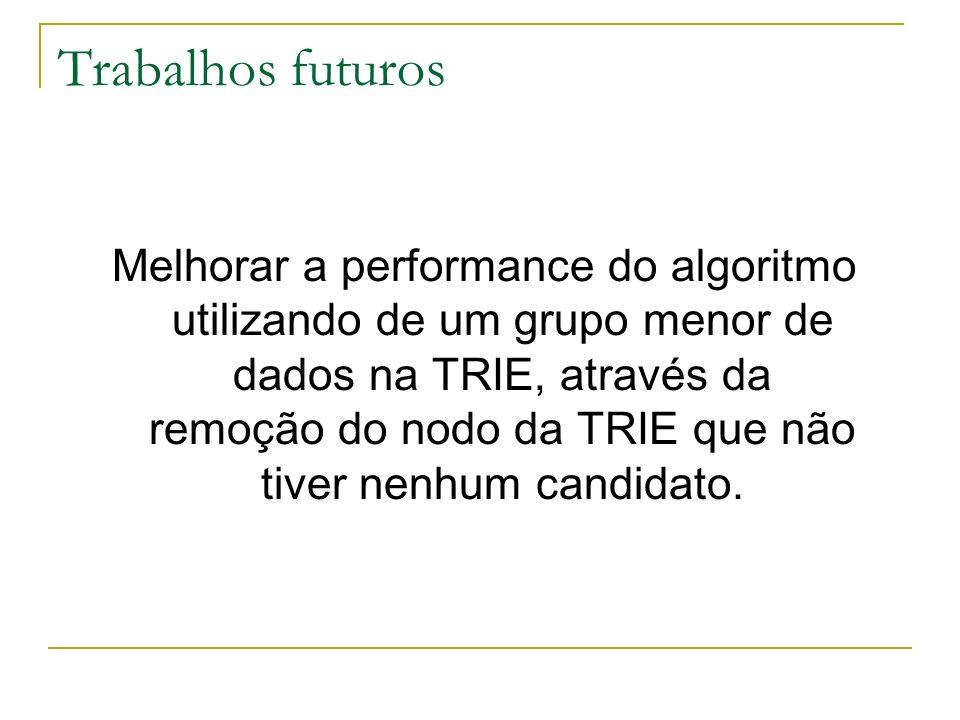 Trabalhos futuros Melhorar a performance do algoritmo utilizando de um grupo menor de dados na TRIE, através da remoção do nodo da TRIE que não tiver