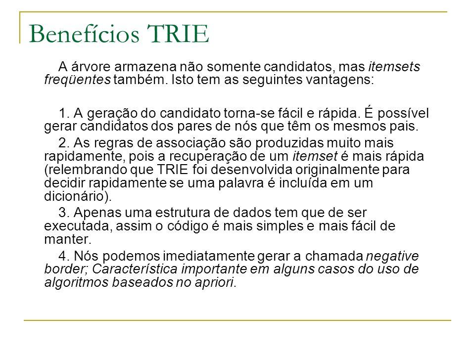 Benefícios TRIE A árvore armazena não somente candidatos, mas itemsets freqüentes também. Isto tem as seguintes vantagens: 1. A geração do candidato t
