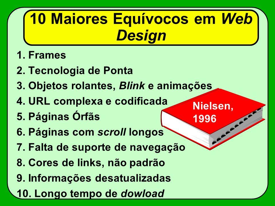 10 Maiores Equívocos em Web Design 1. Frames 2. Tecnologia de Ponta 3. Objetos rolantes, Blink e animações 4. URL complexa e codificada 5. Páginas Órf