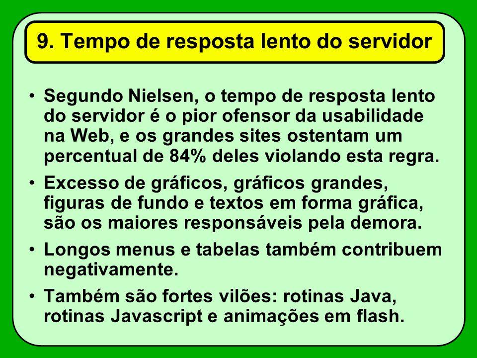 9. Tempo de resposta lento do servidor Segundo Nielsen, o tempo de resposta lento do servidor é o pior ofensor da usabilidade na Web, e os grandes sit
