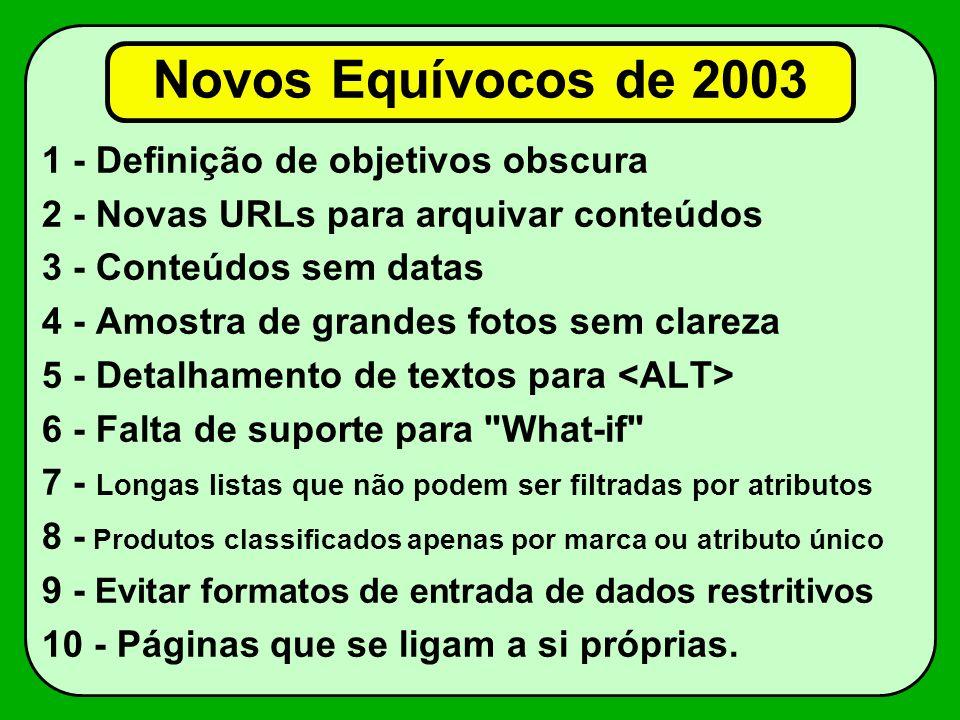 Novos Equívocos de 2003 1 - Definição de objetivos obscura 2 - Novas URLs para arquivar conteúdos 3 - Conteúdos sem datas 4 - Amostra de grandes fotos