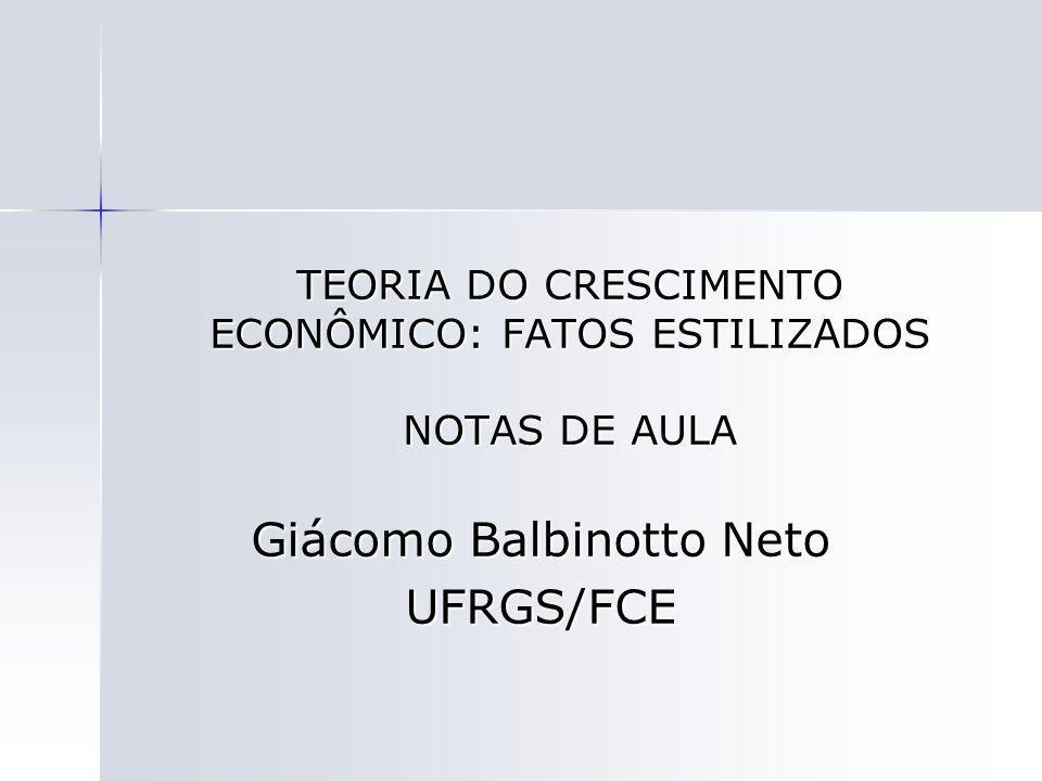 TEORIA DO CRESCIMENTO ECONÔMICO: FATOS ESTILIZADOS NOTAS DE AULA Giácomo Balbinotto Neto UFRGS/FCE
