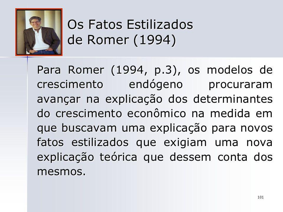 101 Os Fatos Estilizados de Romer (1994) Para Romer (1994, p.3), os modelos de crescimento endógeno procuraram avançar na explicação dos determinantes