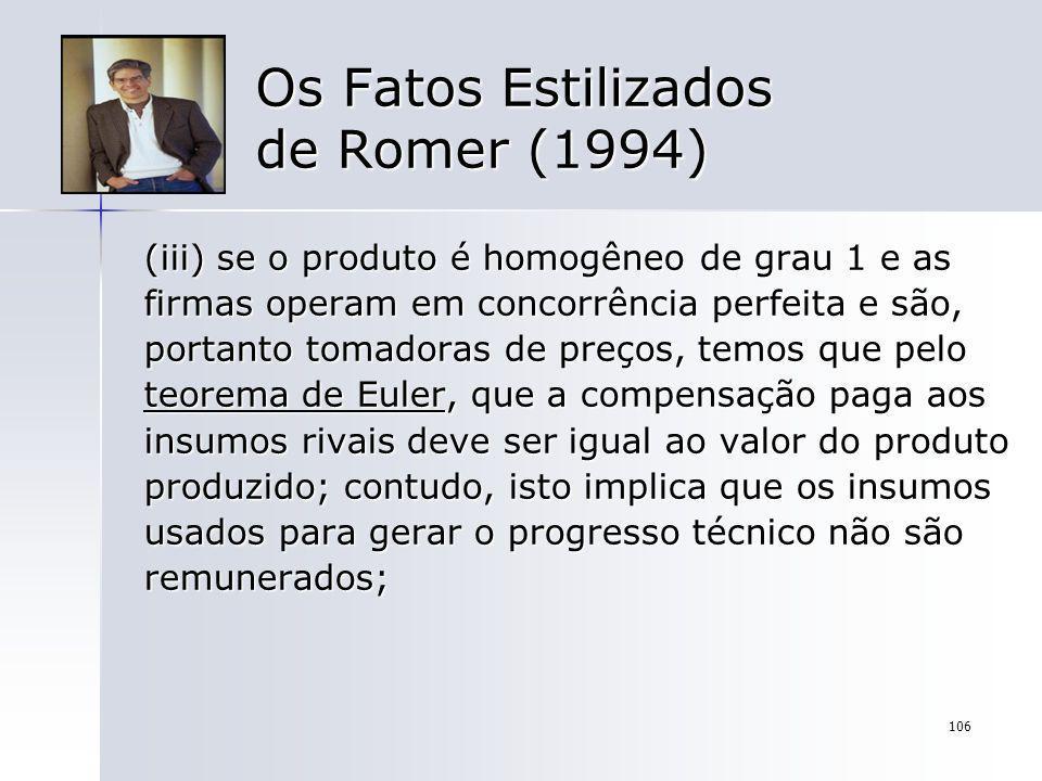 106 Os Fatos Estilizados de Romer (1994) (iii) se o produto é homogêneo de grau 1 e as firmas operam em concorrência perfeita e são, portanto tomadora
