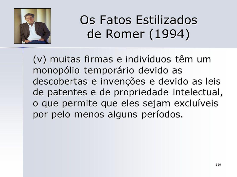 110 Os Fatos Estilizados de Romer (1994) (v) muitas firmas e indivíduos têm um monopólio temporário devido as descobertas e invenções e devido as leis