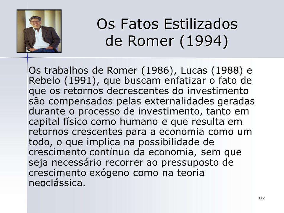 112 Os Fatos Estilizados de Romer (1994) Os trabalhos de Romer (1986), Lucas (1988) e Rebelo (1991), que buscam enfatizar o fato de que os retornos de