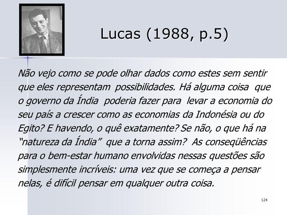 124 Lucas (1988, p.5) Não vejo como se pode olhar dados como estes sem sentir que eles representam possibilidades. Há alguma coisa que o governo da Ín