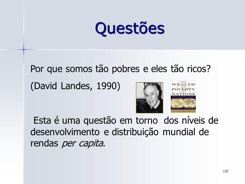 125 Questões Por que somos tão pobres e eles tão ricos? (David Landes, 1990) Esta é uma questão em torno dos níveis de desenvolvimento e distribuição