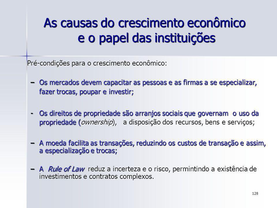 128 As causas do crescimento econômico e o papel das instituições Pré-condições para o crescimento econômico: –Os mercados devem capacitar as pessoas