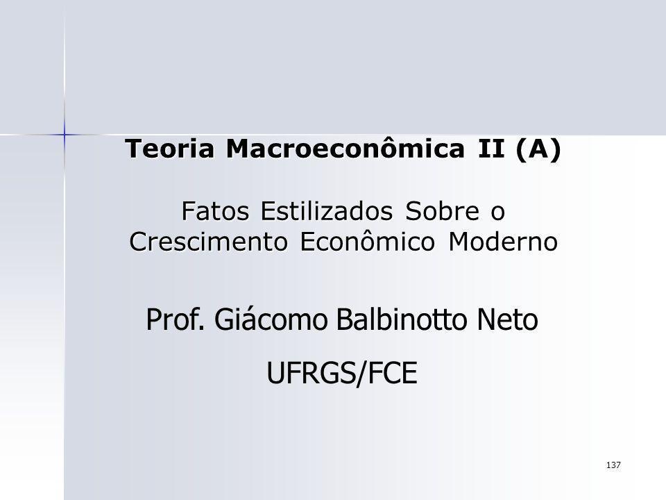 137 Teoria Macroeconômica II (A) Fatos Estilizados Sobre o Crescimento Econômico Moderno Prof. Giácomo Balbinotto Neto UFRGS/FCE