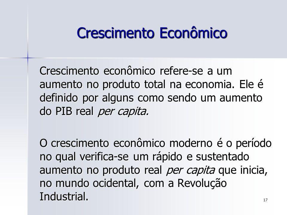 17 Crescimento Econômico Crescimento econômico refere-se a um aumento no produto total na economia. Ele é definido por alguns como sendo um aumento do