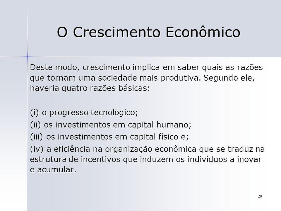 20 O Crescimento Econômico Deste modo, crescimento implica em saber quais as razões que tornam uma sociedade mais produtiva. Segundo ele, haveria quat