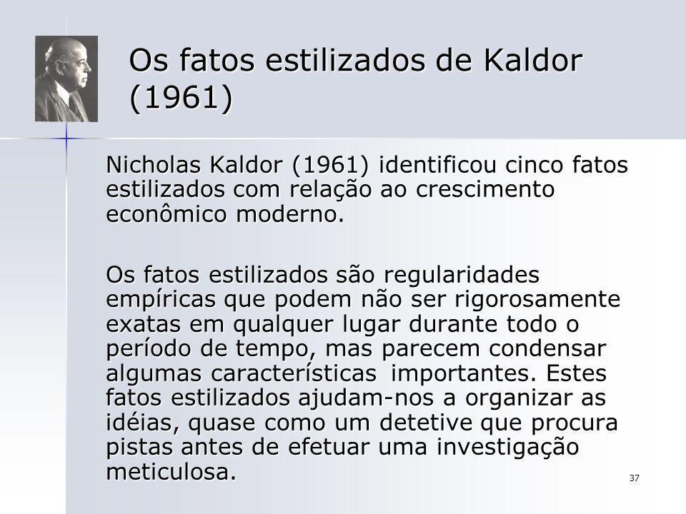 37 Os fatos estilizados de Kaldor (1961) Nicholas Kaldor (1961) identificou cinco fatos estilizados com relação ao crescimento econômico moderno. Os f