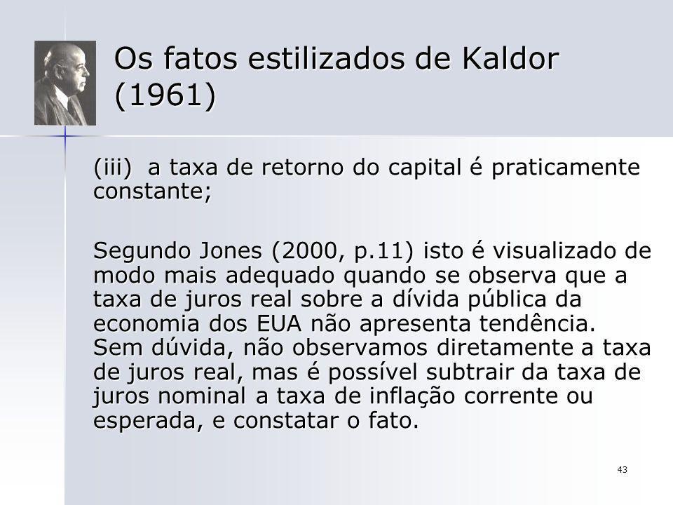 43 Os fatos estilizados de Kaldor (1961) (iii) a taxa de retorno do capital é praticamente constante; Segundo Jones (2000, p.11) isto é visualizado de