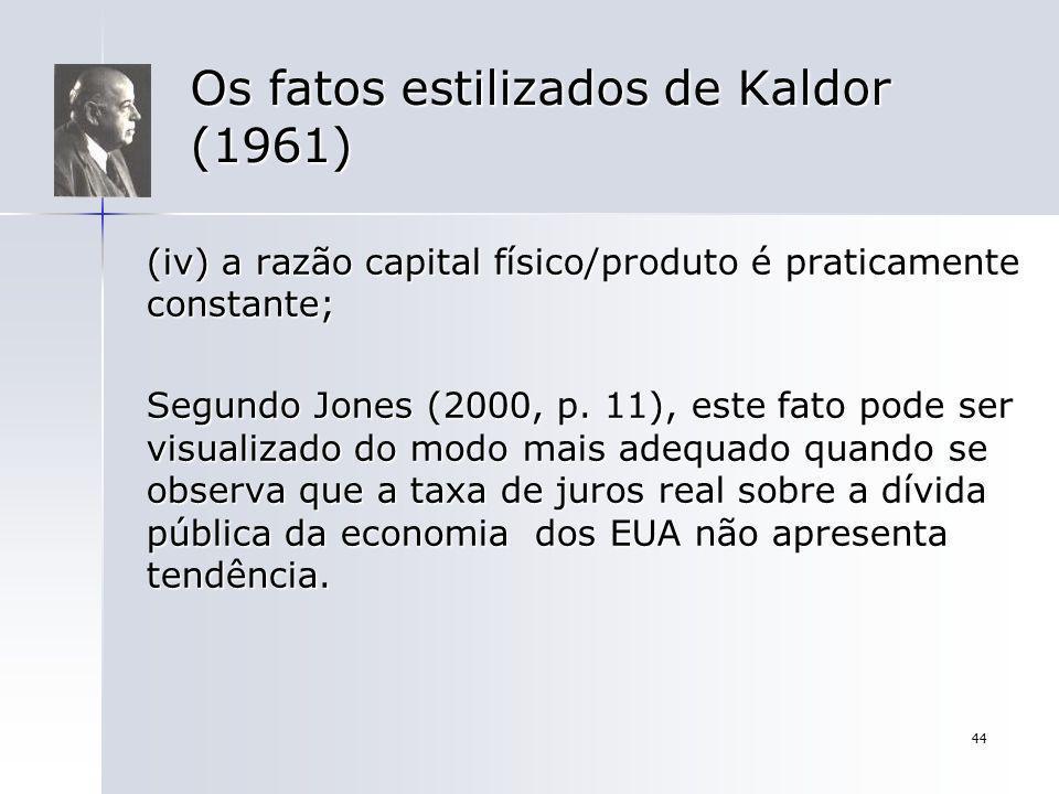 44 Os fatos estilizados de Kaldor (1961) (iv) a razão capital físico/produto é praticamente constante; Segundo Jones (2000, p. 11), este fato pode ser