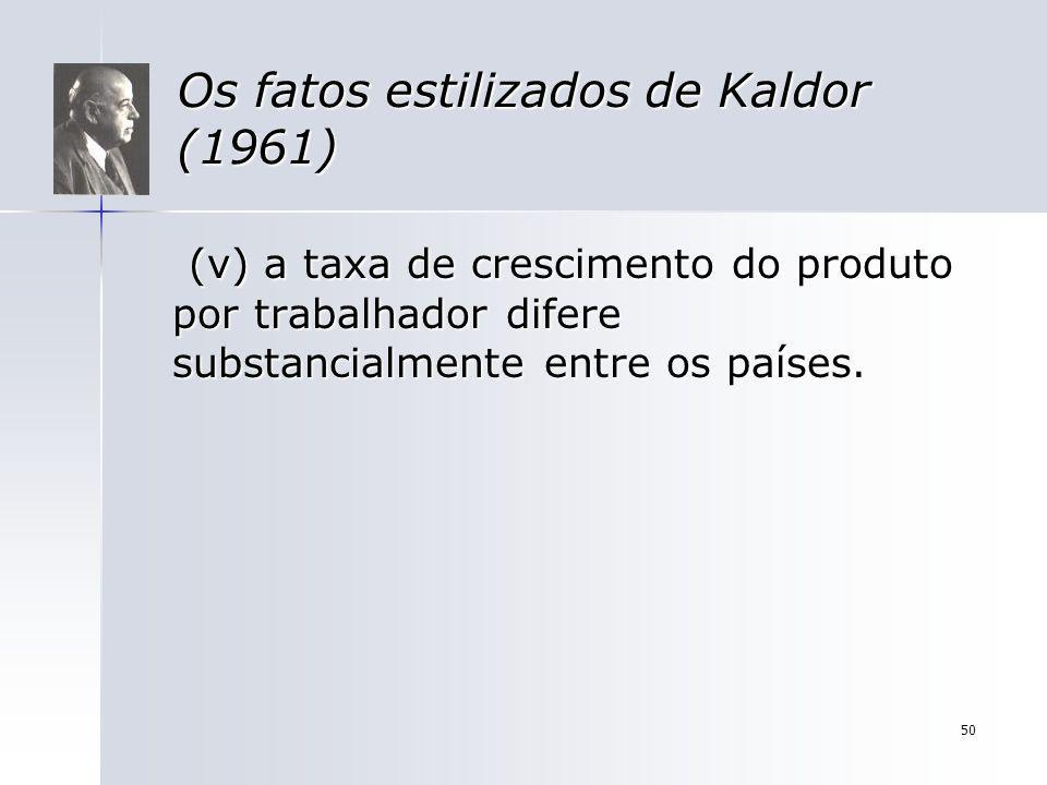 50 Os fatos estilizados de Kaldor (1961) (v) a taxa de crescimento do produto por trabalhador difere substancialmente entre os países. (v) a taxa de c