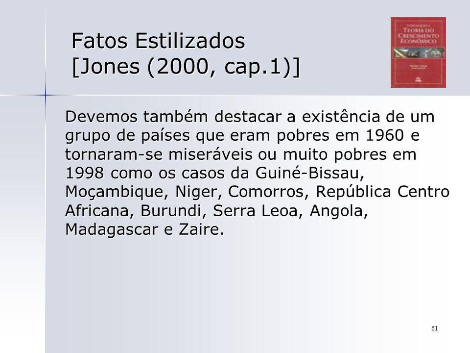 61 Fatos Estilizados [Jones (2000, cap.1)] Devemos também destacar a existência de um grupo de países que eram pobres em 1960 e tornaram-se miseráveis