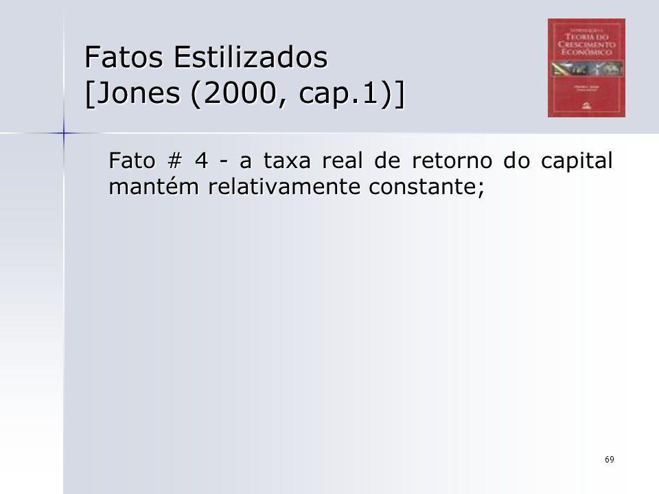 69 Fatos Estilizados [Jones (2000, cap.1)] Fato # 4 - a taxa real de retorno do capital mantém relativamente constante;