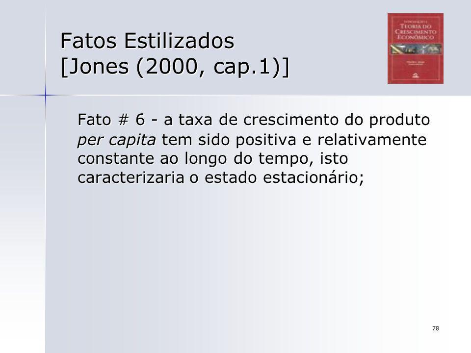 78 Fatos Estilizados [Jones (2000, cap.1)] Fato # 6 - a taxa de crescimento do produto per capita tem sido positiva e relativamente constante ao longo