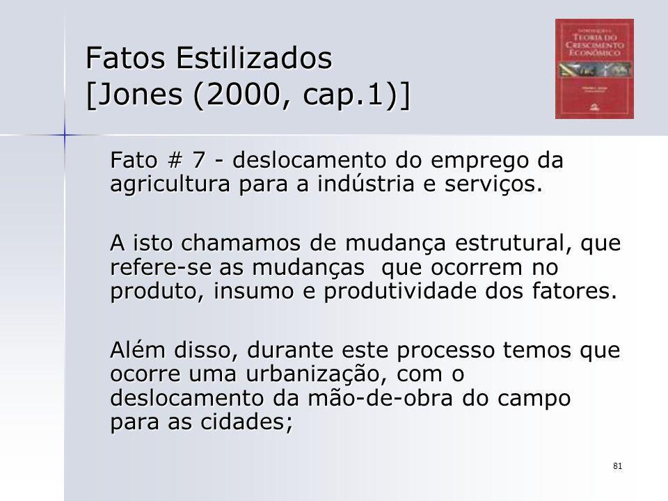 81 Fatos Estilizados [Jones (2000, cap.1)] Fato # 7 - deslocamento do emprego da agricultura para a indústria e serviços. A isto chamamos de mudança e