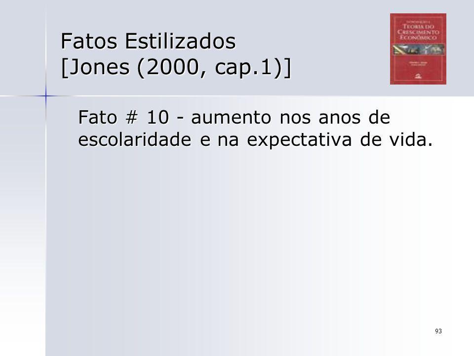 93 Fatos Estilizados [Jones (2000, cap.1)] Fato # 10 - aumento nos anos de escolaridade e na expectativa de vida.