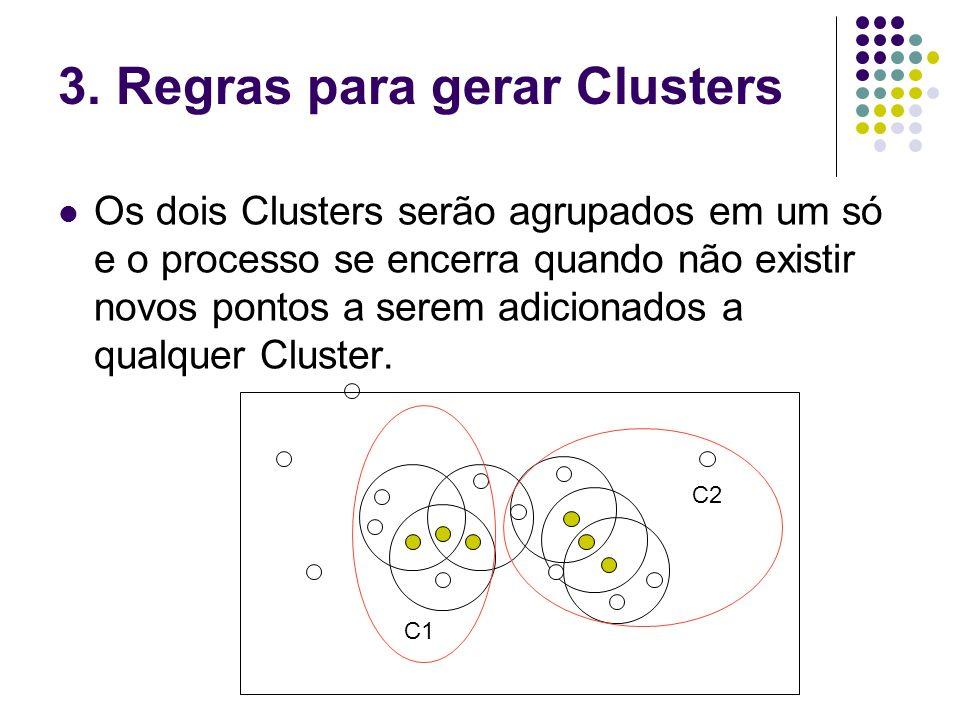 3. Regras para gerar Clusters Os dois Clusters serão agrupados em um só e o processo se encerra quando não existir novos pontos a serem adicionados a