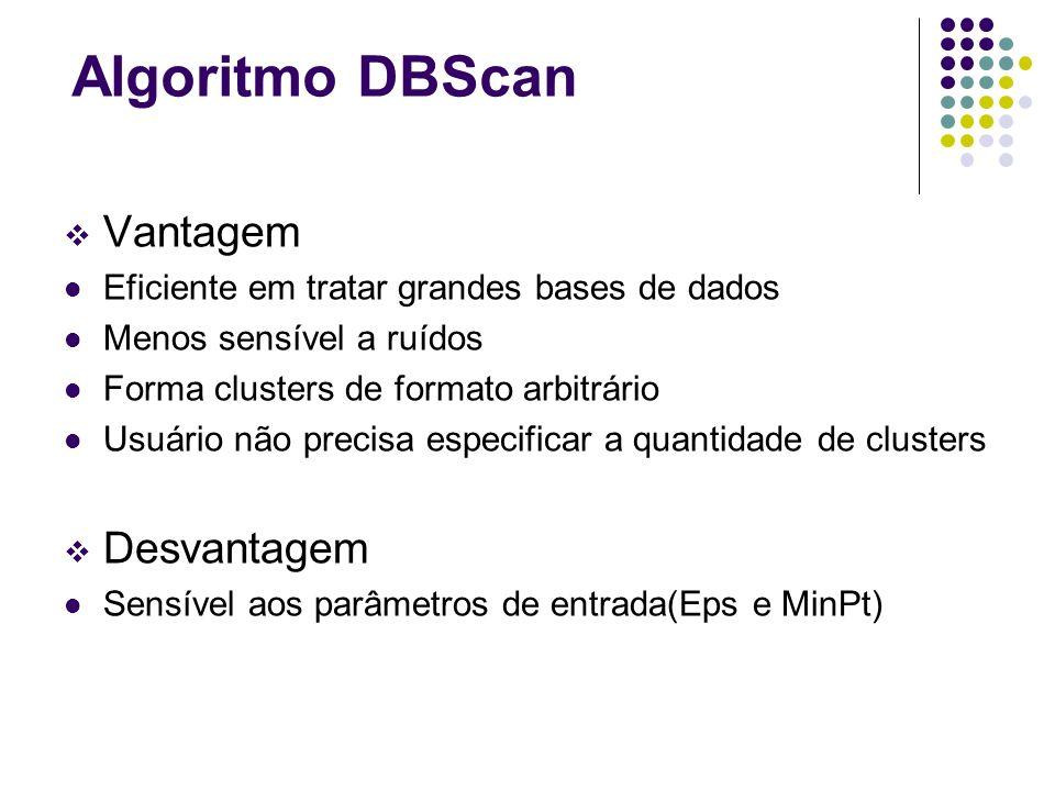 Algoritmo DBScan Vantagem Eficiente em tratar grandes bases de dados Menos sensível a ruídos Forma clusters de formato arbitrário Usuário não precisa