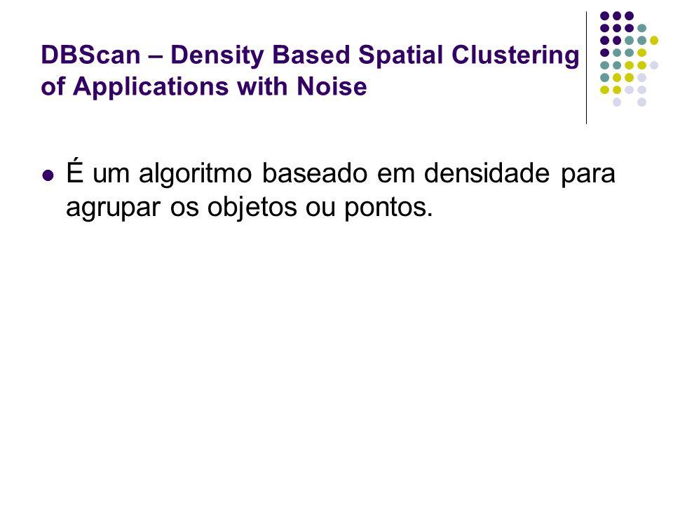 DBScan – Density Based Spatial Clustering of Applications with Noise É um algoritmo baseado em densidade para agrupar os objetos ou pontos.