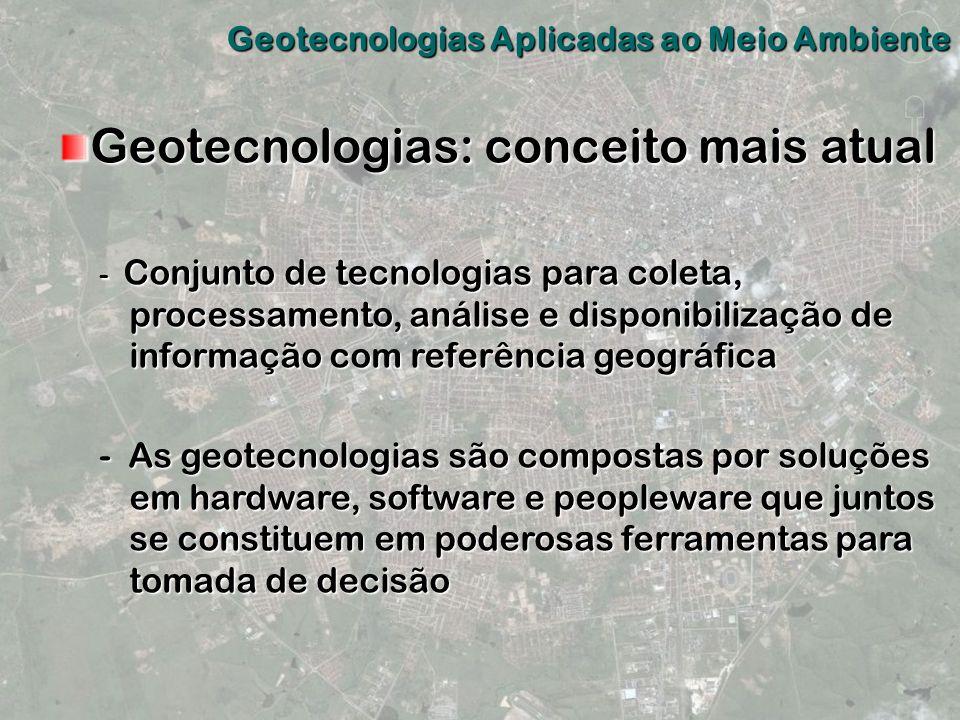 Geotecnologias: conceito mais atual - Conjunto de tecnologias para coleta, processamento, análise e disponibilização de informação com referência geog