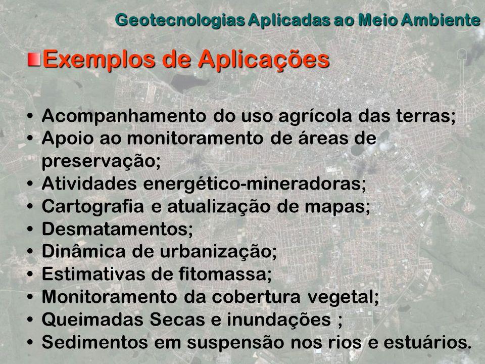 Exemplos de Aplicações Acompanhamento do uso agrícola das terras; Apoio ao monitoramento de áreas de preservação; Atividades energético-mineradoras; C