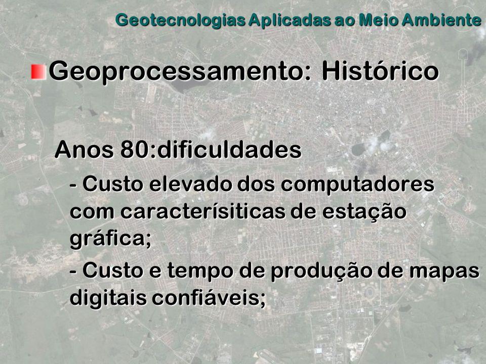 Geoprocessamento: Histórico Anos 80:dificuldades - Custo elevado dos computadores com caracterísiticas de estação gráfica; - Custo e tempo de produção