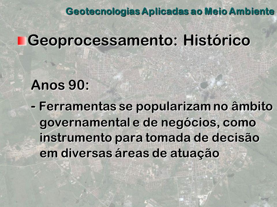 Geoprocessamento: Histórico Anos 90: - Ferramentas se popularizam no âmbito governamental e de negócios, como instrumento para tomada de decisão em di